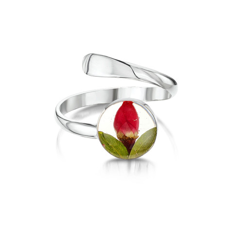 925 Silver adjustable Ring - round rose