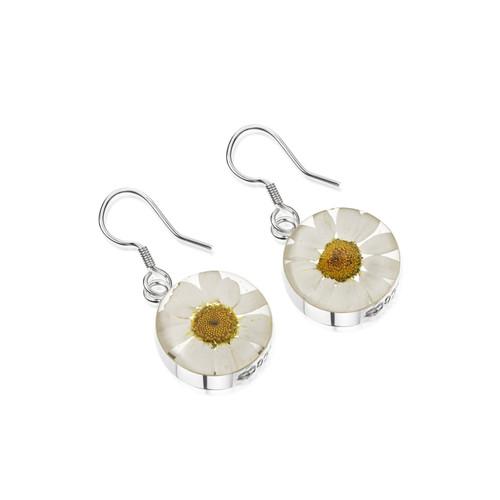925 Silver Hook Earrings - Daisy White