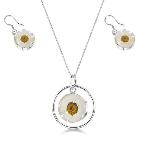 925 Silver Daisy White Pendant and Earring Set