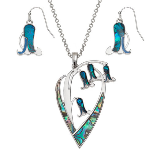 Tide Jewellery inlaid blue Paua shell Bluebell flower pendant and earring set