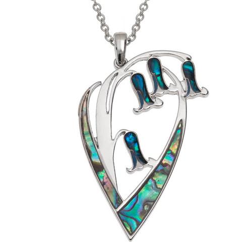 Tide Jewellery inlaid Paua shell  Bluebell flower pendant