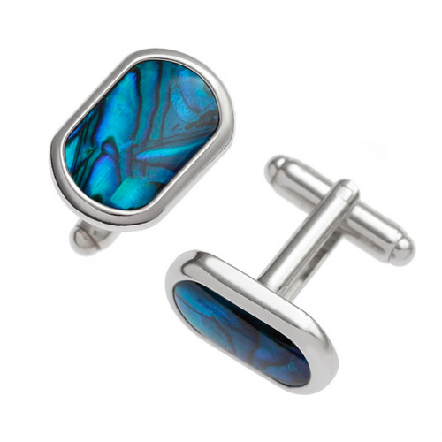 Tide Jewellery inlaid blue Paua shell rounded rectangle cufflinks
