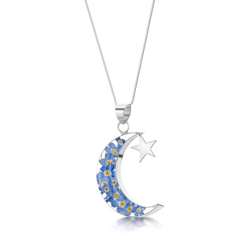 925 Silver Pendant - Real Flower - Moon+Star