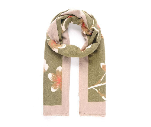 Green blossom print brushed warm scarf