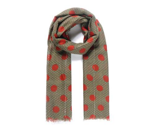 Green/red polka dot print embellishment scarf
