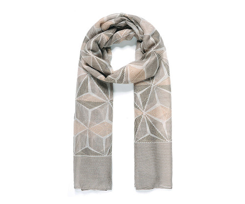 Beige tessellating geometric print scarf