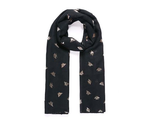 Black baby bee rose gold metallic print scarf