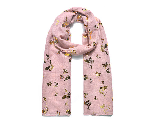 Lilac gold butterfly foil print scarf
