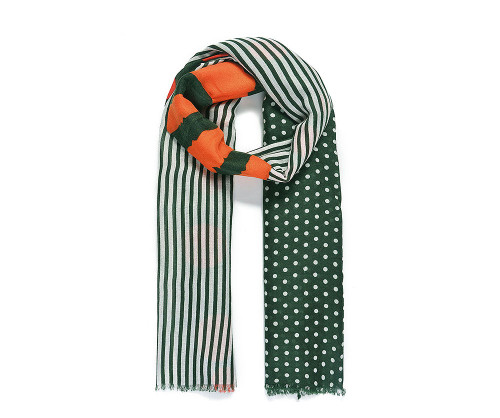 Dark green/red dot and stripe scarf
