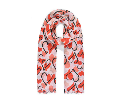 Red heart print scarf