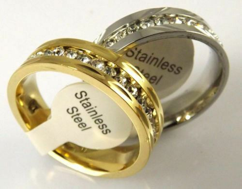 Golden/Silver Plated Comfortable Zircon Stainless Steel Rings 5mm Width
