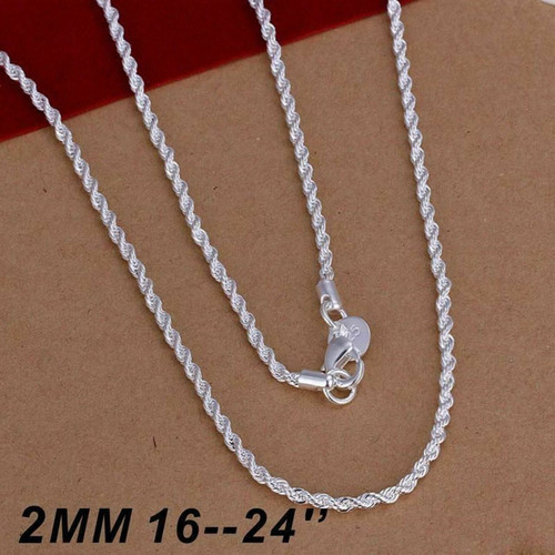 "SILVER PLATED 16'' 18'' 20"" 22"" 24"" INCH TWIST ROPE CHAIN NECKLACE"
