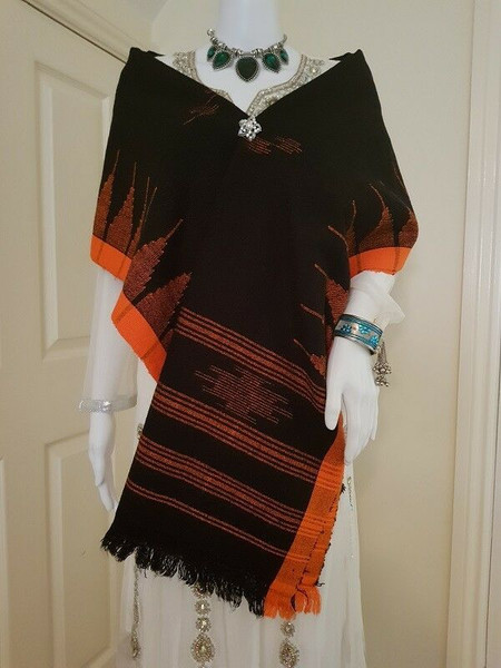 Black and Orange Monipuri Shawl