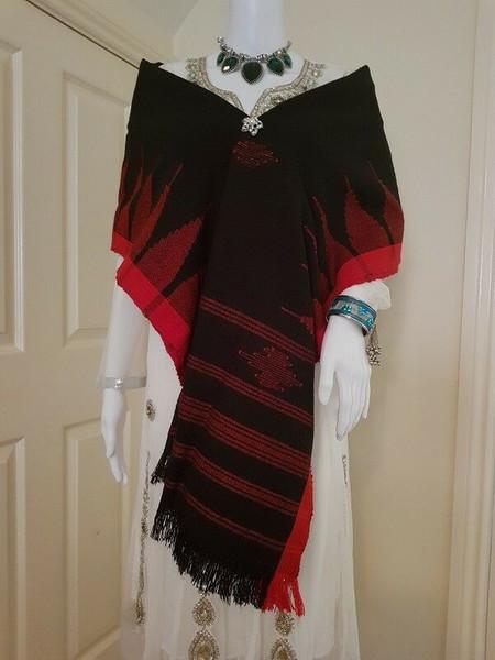 Black and Red Monipuri Shawl