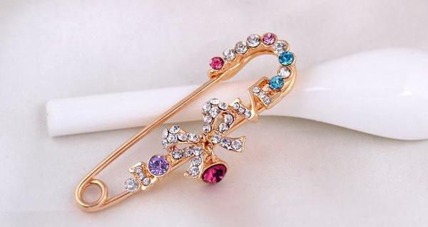 Bow Knot Korean Pins with Crystal rhinestone Brooch