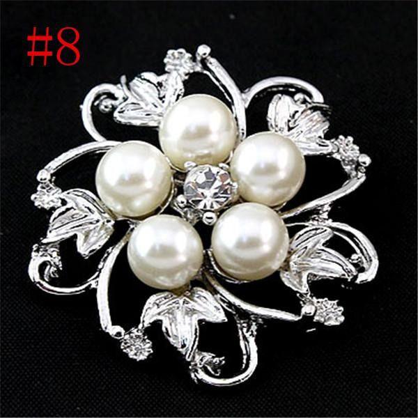 Five Leaf Silver Pearl Crystal Rhinestone Flower Vintage Brooch