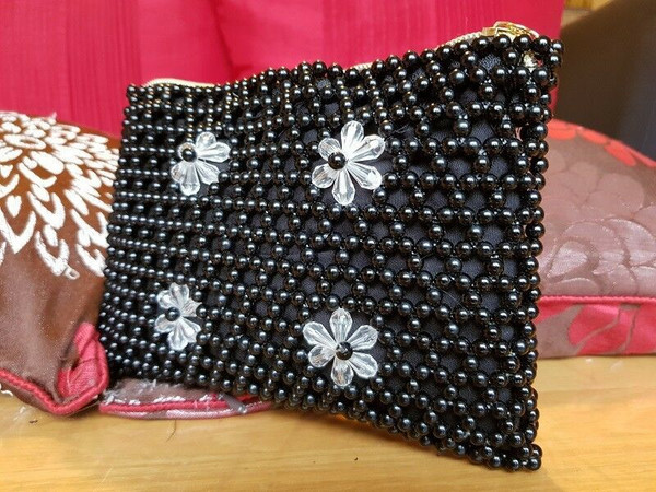 Hand Crafted Black and Clear Pearl Beads Clutch Bag