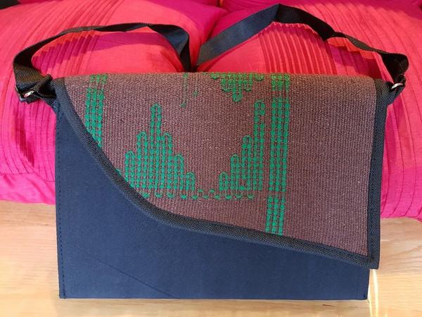 Brown and Blue Monipuri side Bag