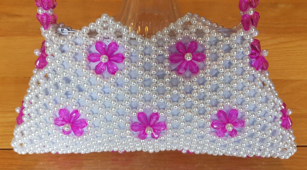 Hand Crafted White & Pink Flowers Small Hand Bag