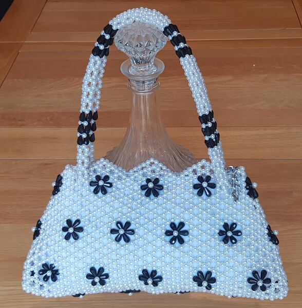 Hand Crafted White & Black Flowers Large Hand Bag