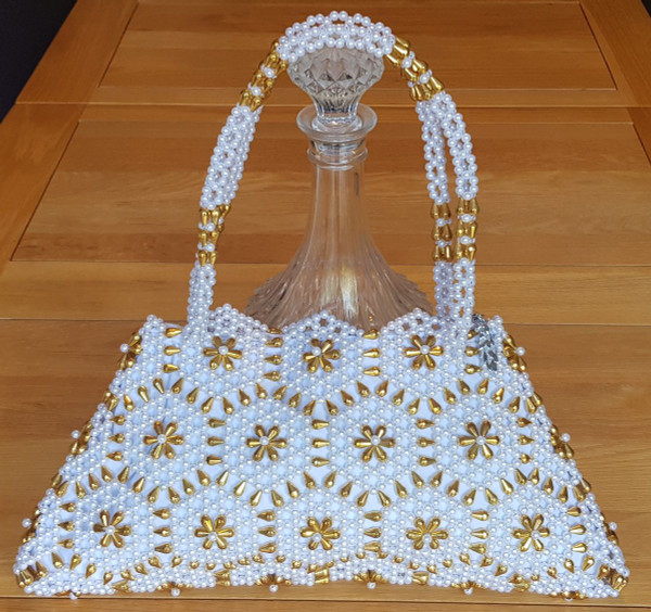 Hand Crafted White & Gold Hex Flowers Large Hand Bag