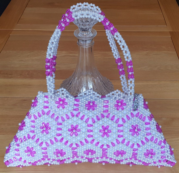 Hand Crafted White & Pink  Straight Hex Flowers Large Hand Bag