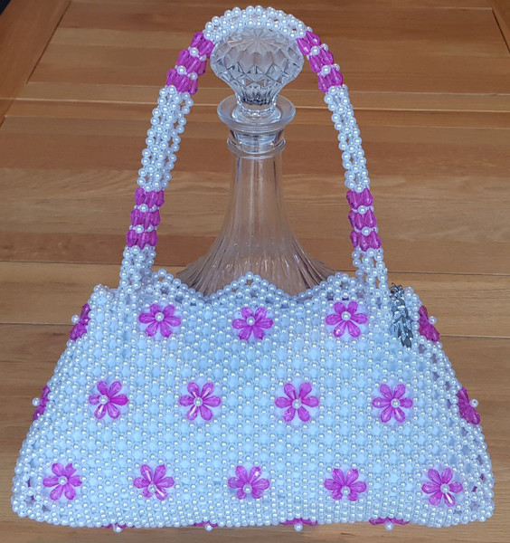 Hand Crafted White & Pink Flowers Medium Hand Bag