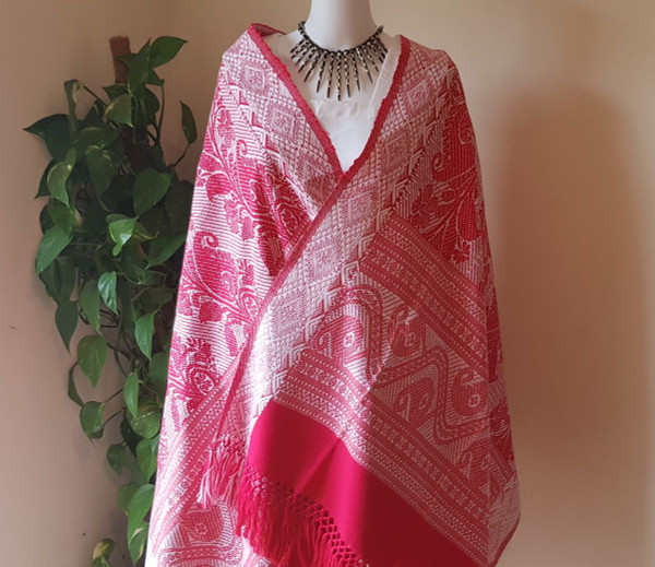 Magenta  and White Monipuri Shawl
