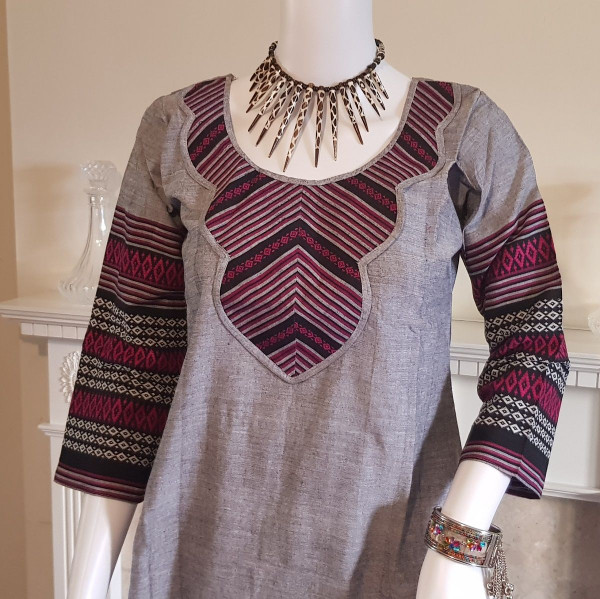 Grey and Magenta Monipuri Salwar Kameez - Small