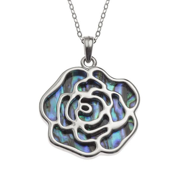 Tide Jewellery inlaid Paua shell rose pendant