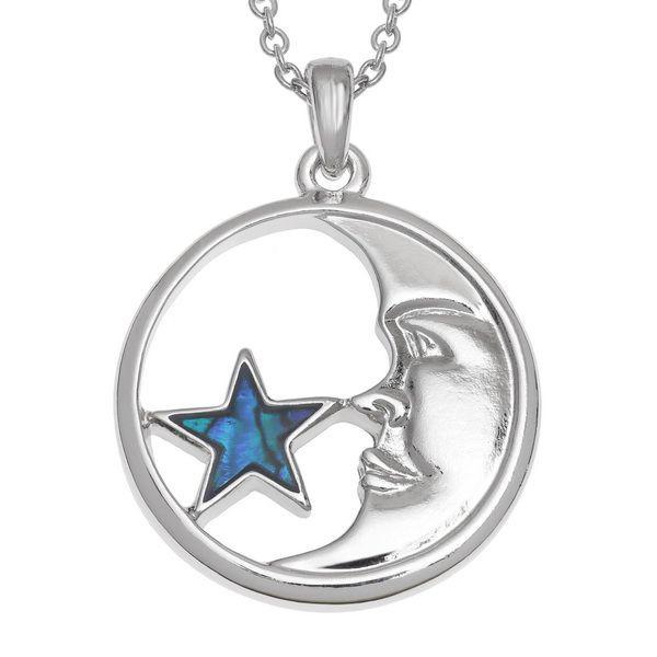 Tide Jewellery inlaid blue Paua shell Moon and Star pendant