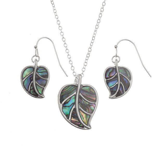 Tide Jewellery inlaid Paua shell leaf pendant and earring set