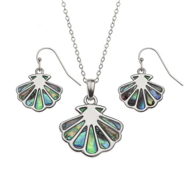 Tide Jewellery inlaid Paua shell scallop shell pendant and earring set
