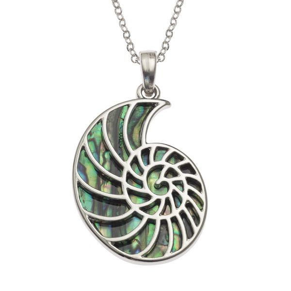 Tide Jewellery inlaid Paua shell ammonite fossil pendant