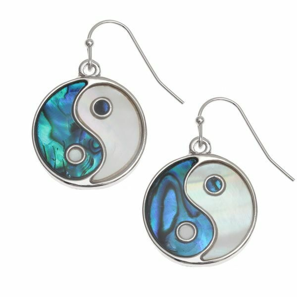 Tide Jewellery inlaid blue Paua shell Yin Yang hook earrings