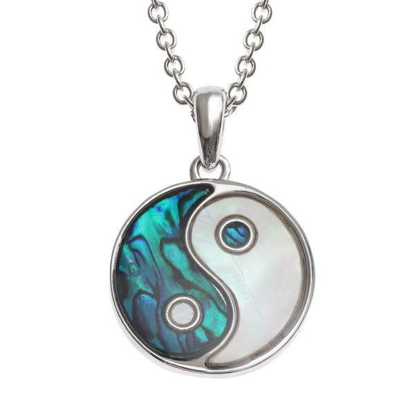 Tide Jewellery inlaid blue Paua shell Yin Yang pendant