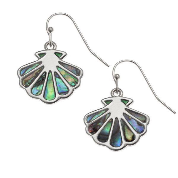 Tide Jewellery inlaid Paua shell scallop shell hook earrings