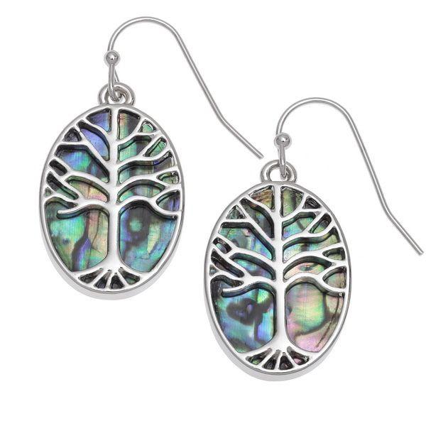 Tide Jewellery inlaid Paua shell Tree of Life oval hook earrings
