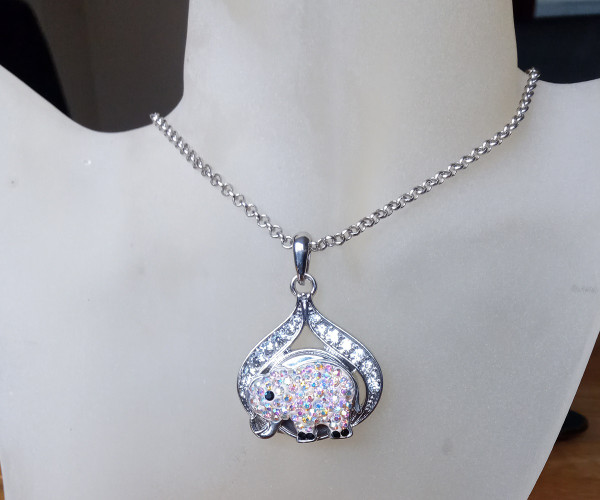 Silver Plated Noosa Heart Pendant Necklace with Elephant Snap Button