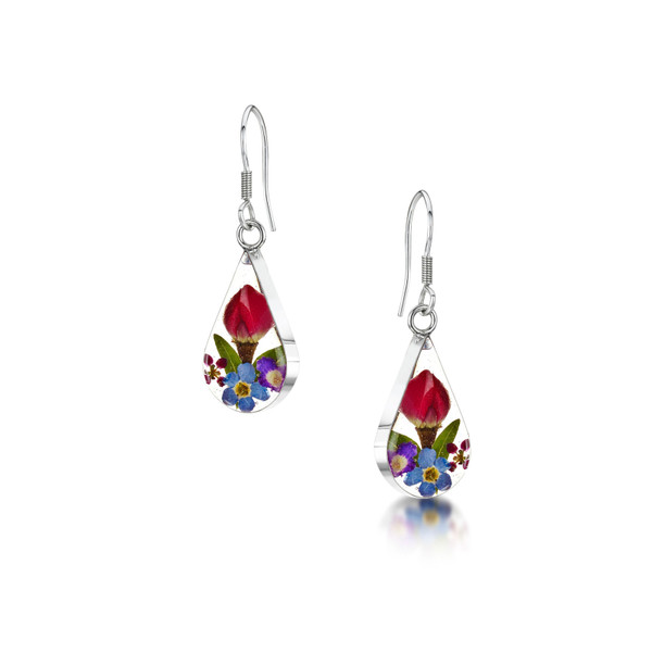 925 Silver drop Earring - Mixed Real Flower - Teardrop