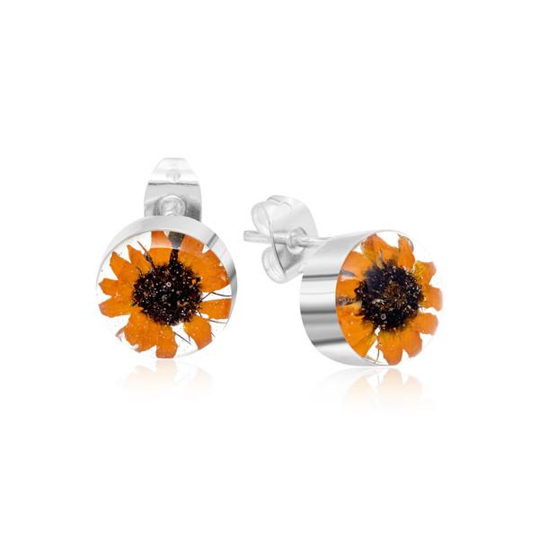 925 Silver stud Earrings - Sunflower - Round - Stud