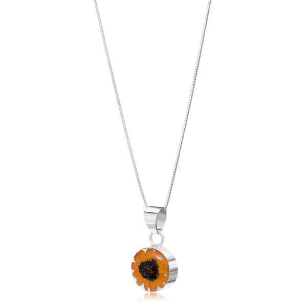 925 Silver Pendant - Sunflower - Round