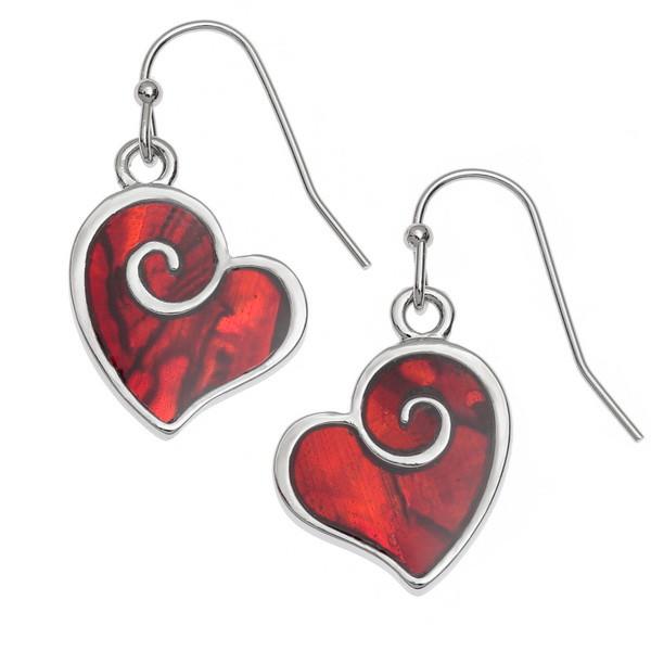 Tide Jewellery inlaid red Paua shell heart swirl earrings