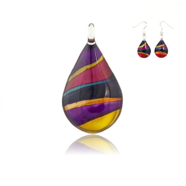 Hand Painted Glass Teardrop Pendant Necklace & Earring Set