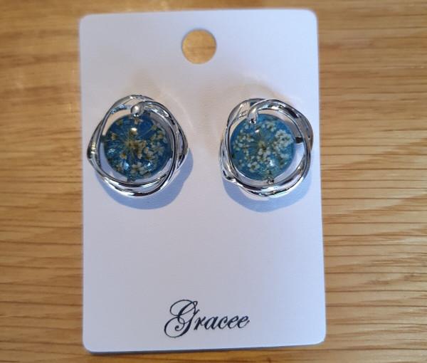 Green Real Flower Earrings