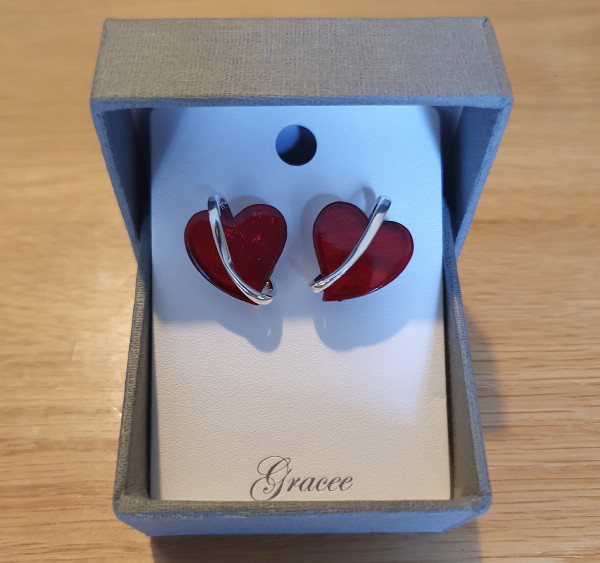 Red Heart Earrings with Gift box
