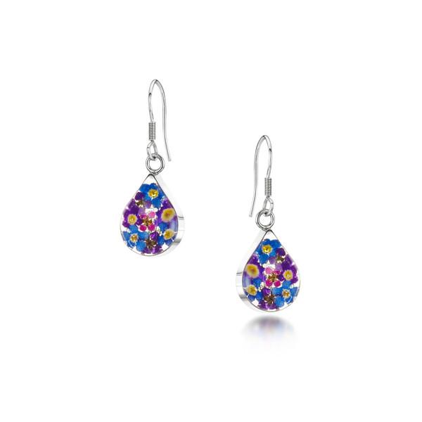 925 Silver Drop Earrings - Purple Haze Real Flower - Teardrop