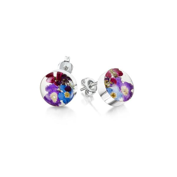 925 Silver Stud Earrings - Purple Haze Real Flower - Round