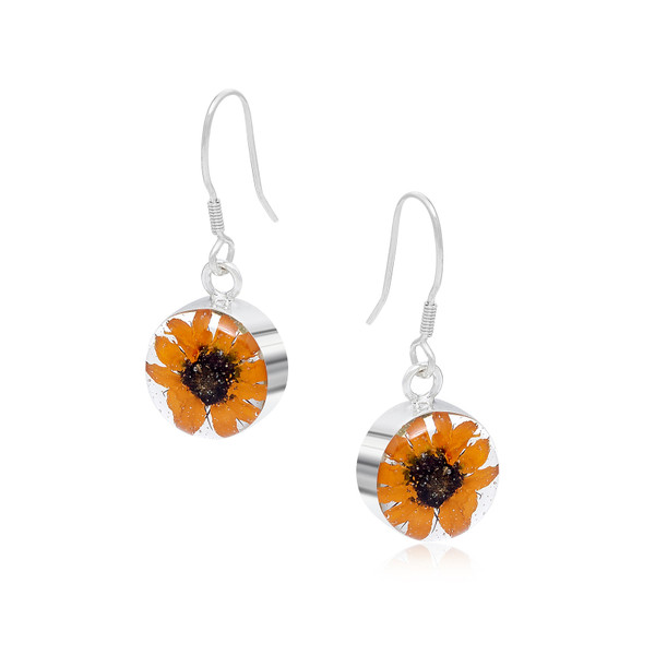 925 Silver Earrings - Sunflower - Round - Drop