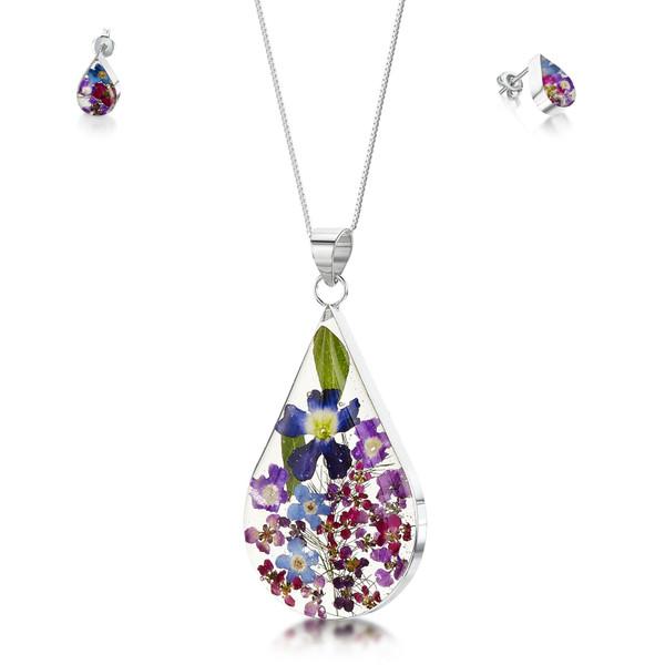 925 Silver Pendant & Stud Earring Set - Real Flower - Large Teardrop